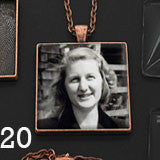 20 Pack Large Copper Square Photo Jewelry Pendants w/ Glass 1 1/4 inch and Link Chains Photo Jewelry