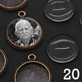 20 Pack Round Mini Copper Plated Photo Charms w/ Glass Domes 1/2 Inch Photo Area
