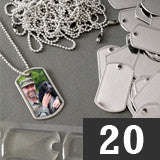 20 Mini Photo Dog Tag Supplies Pack