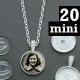 "20 Pack 16mm Mini Glass Photo Pendants & 18"" Link Chain Necklaces Supply Pack"
