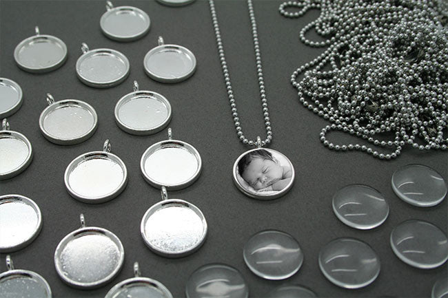 10 16mm Glass Photo Pendants & Mini Ball Chain Necklaces Supply Pack - Photo Jewelry Making
