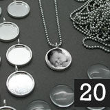 20 16mm Glass Top Photo Pendants & Mini Ball Chain Necklaces Supply Pack