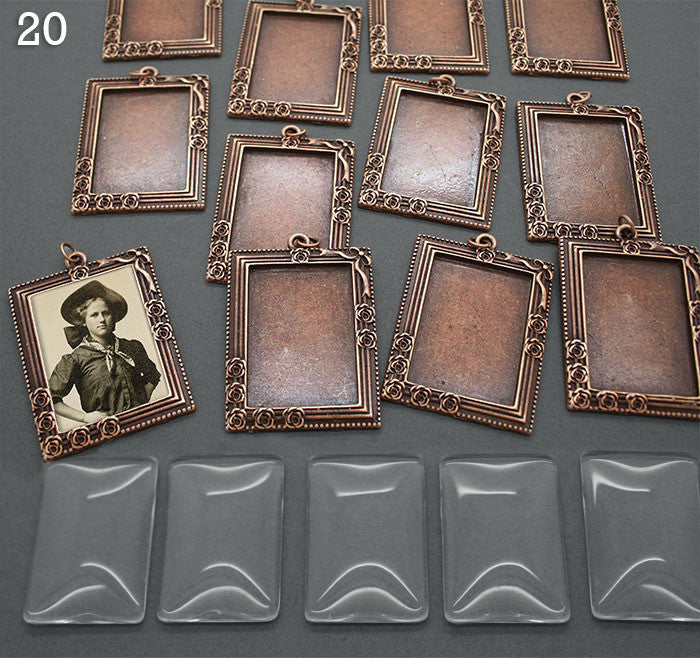 20 Pack Copper Large Vintage Portrait Style Frames w/ Glass Photo Jewelry