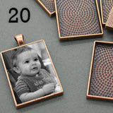 20 Pack 25x35mm Copper Rectangle Photo Pendants w/ Glass