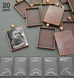20 Pack 25x35mm Copper Rectangle Photo Pendants w/ Glass - Photo Jewelry Making