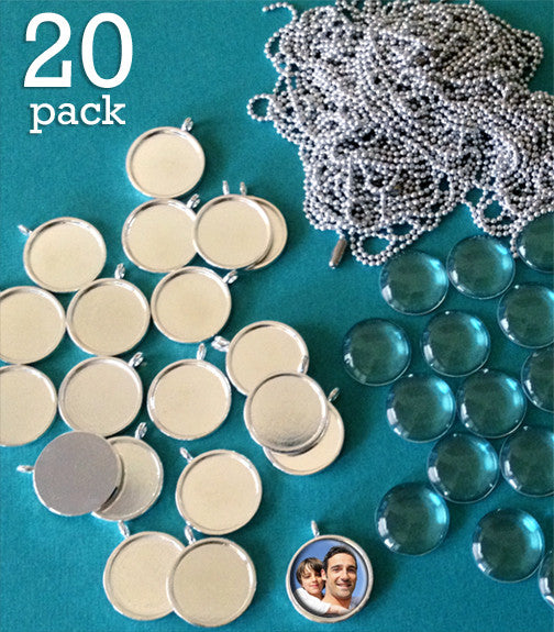 20 Pack 3/4 Inch Silver Photo Pendants Supply Pack w/ Glass & Mini Ballchains - Photo Jewelry Making