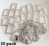 "20 Pack 1 1/2 x 1"" EZ Change Silver Rectangle Pendants W/ Link Chain Necklaces Photo Jewelry"