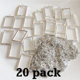 "20 Pack 1 1/2 x 1"" EZ Change Silver Rectangle Pendants W/ Link Chain Necklaces"