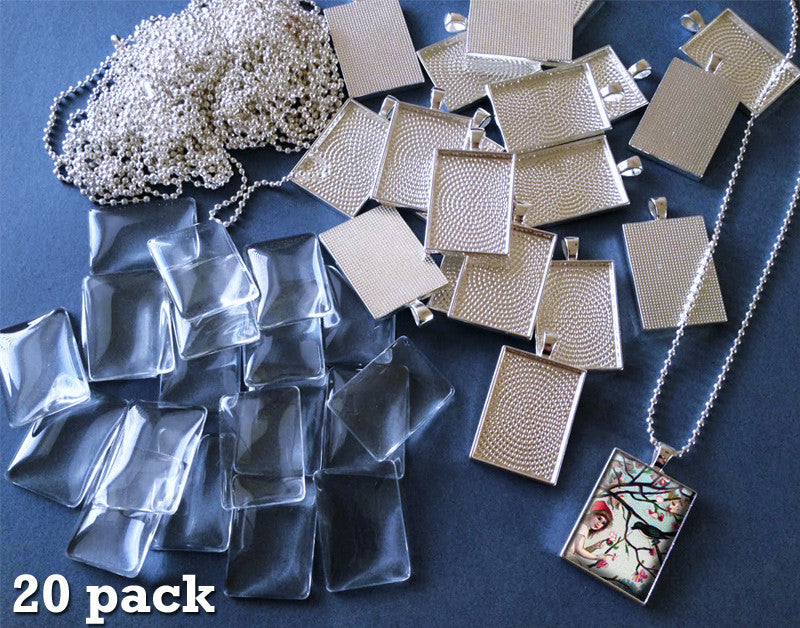 20 Pack 25x35mm Silver Rectangle Photo Jewelry Pendants w/ Glass and Ball Chains - Photo Jewelry Making