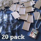 20 Pack 25x35mm Silver Rectangle Photo Jewelry Pendants w/ Glass and Ball Chains