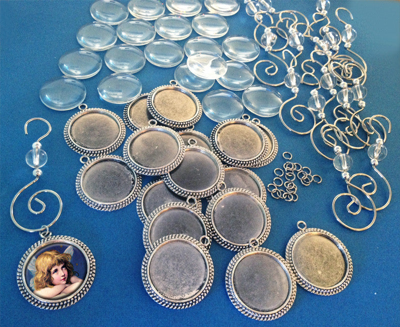 20 Pack Round Beaded Photo Ornaments Supply Pack - Photo Jewelry Making