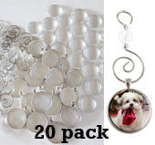 20 Pack Round Glass Photo Christmas Ornament Blanks Large Size 30mm w/ Hooks