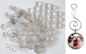 20 Pack Round Glass Photo Christmas Ornament Blanks Large Size 30mm w/ Hooks - Photo Jewelry Making