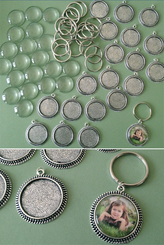 Vintage Round 30mm Photo Keychain Supplies Pack Makes 20 SP - Photo Jewelry Making