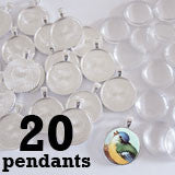 20 Pack Glass Dome Photo Jewelry Silver Circle Pendant 1 1/4""