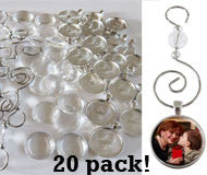 20 Pack Round Glass Photo Christmas Ornament Blanks 1 Inch w/ Hooks