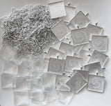 30 Pack One Inch Square Photo Pendants w/ Glass + 30 Ball Chains - Photo Jewelry Making