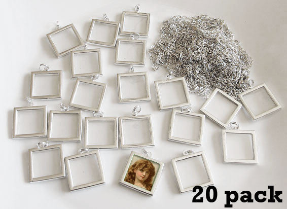 20 Pack 1 Inch EZ Change Silver Square Pendants W/ Link Chain Necklaces