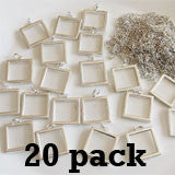 20 Pack 1 Inch EZ Change Silver Square Pendants W/ Link Chain Necklaces Photo Jewelry