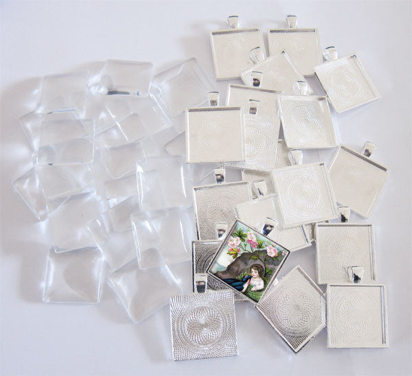 20 Pack Glass Dome Photo Jewelry Pendant 1 Inch Square - Photo Jewelry Making