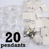 20 Pack Glass Dome Photo Jewelry Pendant 1 Inch Square
