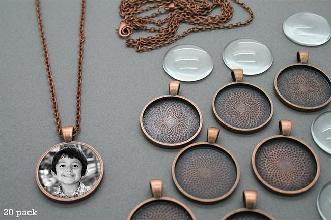1 inch square pendant trays with 24 inch ball chain with dome glass
