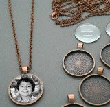 20 Copper Glass Photo Pendants Kit 25mm Photo Jewelry