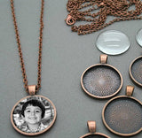 Makes 10 Copper Glass Photo Pendants Kit 25mm - Photo Jewelry Making