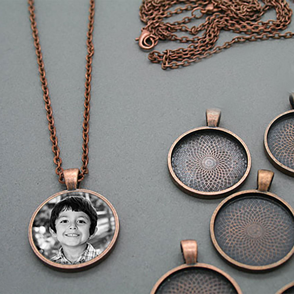 Makes 10 Copper Photo Pendants w/ Self Adhesive Epoxy Covers Kit