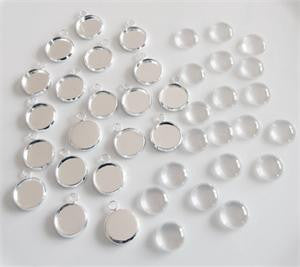 20 Pack Round Mini Photo Charms w/ Glass Domes 1/2 Inch Photo Area - Photo Jewelry Making