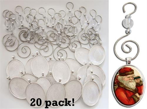 20 Pack Oval Photo Christmas Ornament Blanks-CM-Glass and Hooks - Photo Jewelry Making