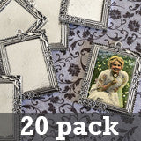 20 Pack 25x35mm Vintage Silver Rectangle Rose Vine Photo Pendants w/ Glass