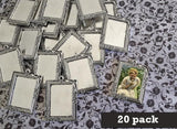 20 Pack 25x35mm Vintage Silver Rectangle Rose Vine Photo Pendants w/ Glass Photo Jewelry