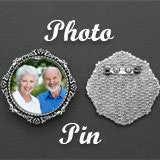 Wedding Photo Pin Brooch For Bouquet Flowers Mother of Bride or Groom Round Photo Pin
