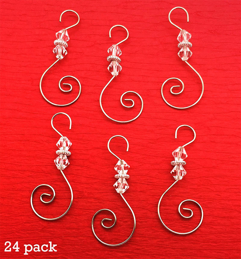 Diamond Pack of 24 Swirled Beaded Christmas Ornament Hooks