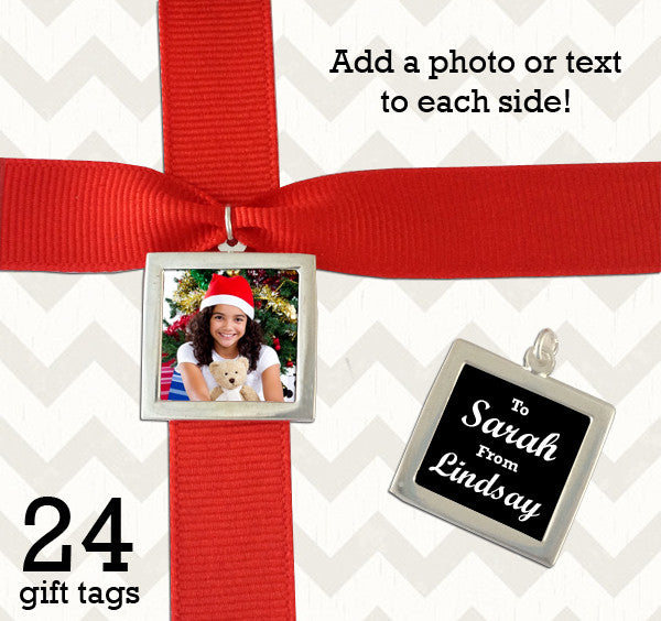 Set of 24 Silver Double Sided Photo Christmas Gift Tags Photo Jewelry