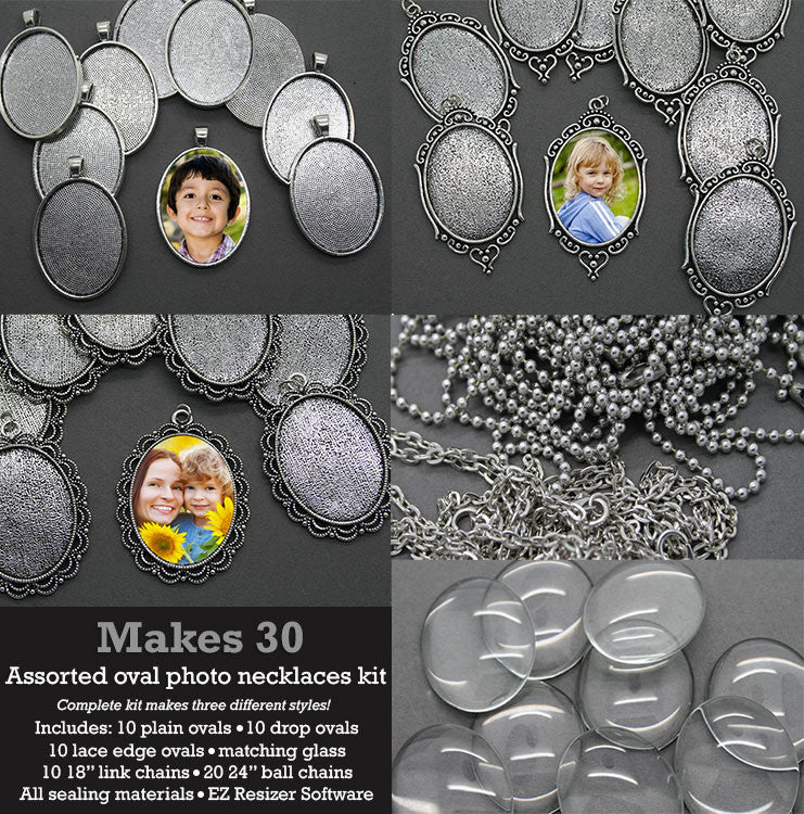 30 Pack 40x30mm Ovals Silver Photo Jewelry Pendant Variety Home Business Kit - Photo Jewelry Making