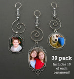 30 Pack Photo Christmas Holiday Ornaments Variety Kit Makes 10 Of Each Style! Photo Jewelry