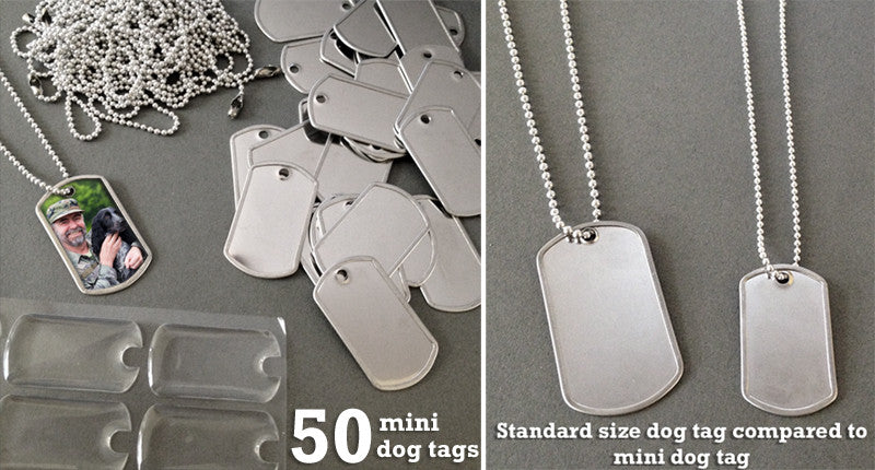 50 Mini Photo Dog Tag Supplies Pack - Photo Jewelry Making