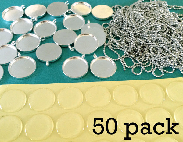 50 Pack 3/4 Inch Silver Photo Pendants Supply Pack w/ Self Adhesive Covers - Photo Jewelry Making
