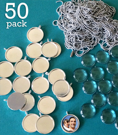 50 Pack 3/4 Inch Round Silver Photo Pendants Supply Pack  w/ Glass & Mini Ball Chains - Photo Jewelry Making