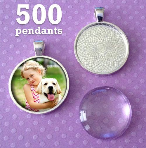 500 Pack of Photo Jewelry Silver Pendant Trays and Glass Domes 1 Inch - Photo Jewelry Making