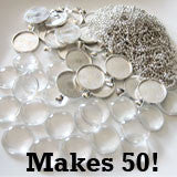 50 Pack Round Glass Photo Pendants w/ 50 Silver Ball Chains