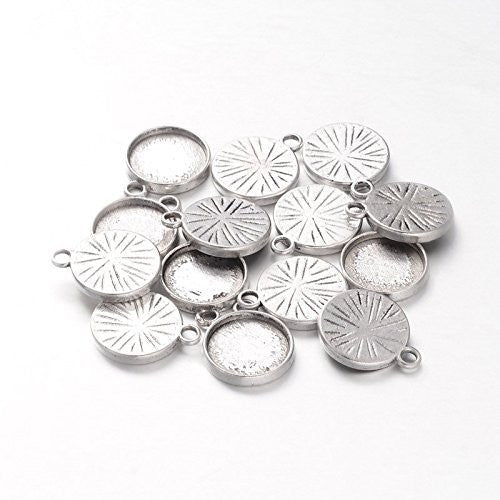 10 Pack 12mm Antique Silver Round Photo Jewelry Charms 1/2 Inch