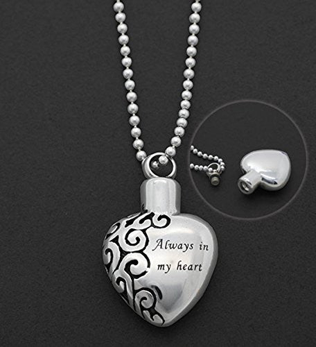 Memorial Ashes Holder Urn Heart Necklace Always In My Heart