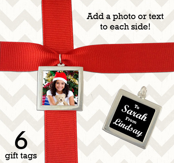 Makes 6 Silver Double Sided Photo Christmas Gift Tags Kit - Photo Jewelry Making