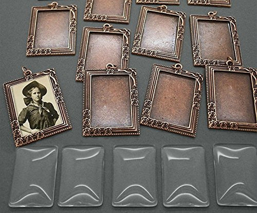 20 Pack 25x35mm Copper Rectangle Rose Vine Photo Pendants w/ Glass - Photo Jewelry Making