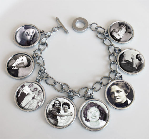 Dangling 8 Frame Photo Charm Bracelet Kit Double Sided Photo Jewelry