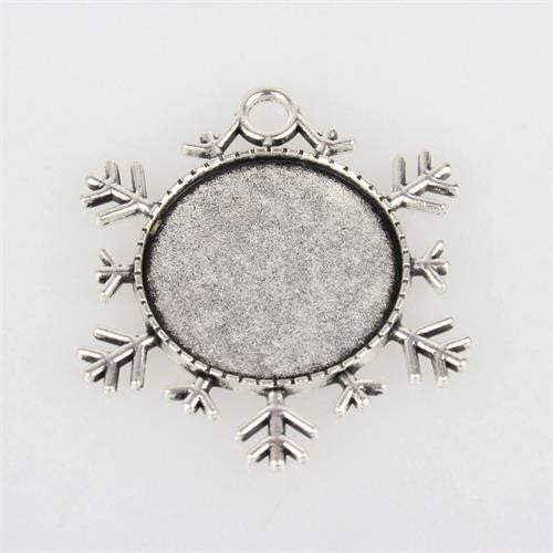 Antique Silver Snowflake Photo Christmas Ornament Decoration Blank 1 Inch Photo Area - Photo Jewelry Making