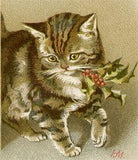 Free Vintage Christmas Kitten Image - Photo Jewelry Making